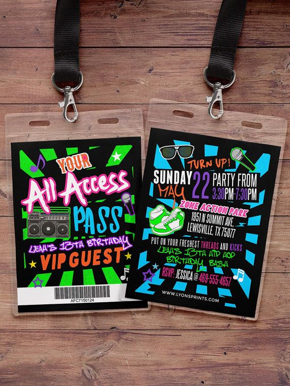 Hip hop, Retro, neon, VIP PASS, backstage pass, Vip invitation, birthday invitation, pop star, bridal shower invite, Rock Star birthday,