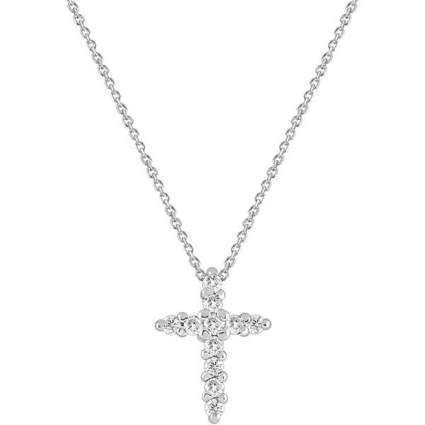 KC Designs 14K White Gold Diamond Cross Necklace - 0.14 ctw ($346) ❤ liked on Polyvore featuring jewelry, necklaces, white, 14k necklace, white necklaces, 14 karat white gold necklace, crucifix necklace and diamond crucifix necklace