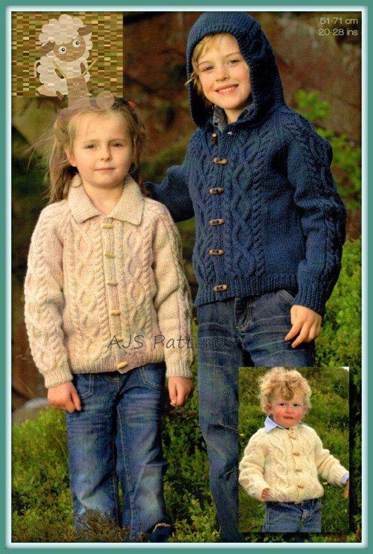 PDF Knitting Pattern For a Childs Aran Jacket  by TheKnittingSheep