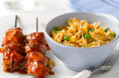 egg-fried rice + sticky chicken sticks.