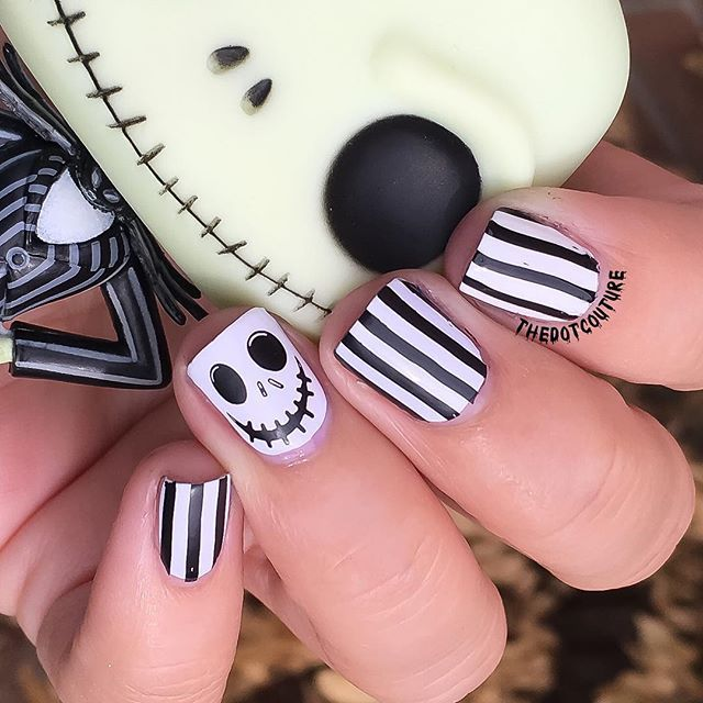 Nightmare Before Christmas nail art for Halloween. #nightmarebeforechristmas #jackskellington
