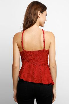 424d0171d5 Mink Pink Flamenco Lace Tank in RED - back view