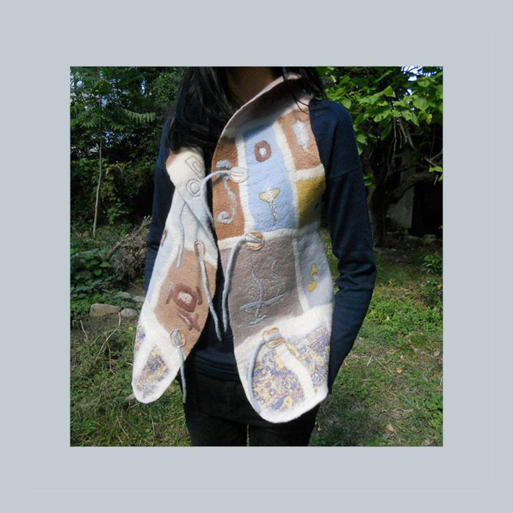 Nuno felt vest , Felted vest, Merino felt vest, Natural dyed multicolored, OOAK by BuriFelt on Etsy