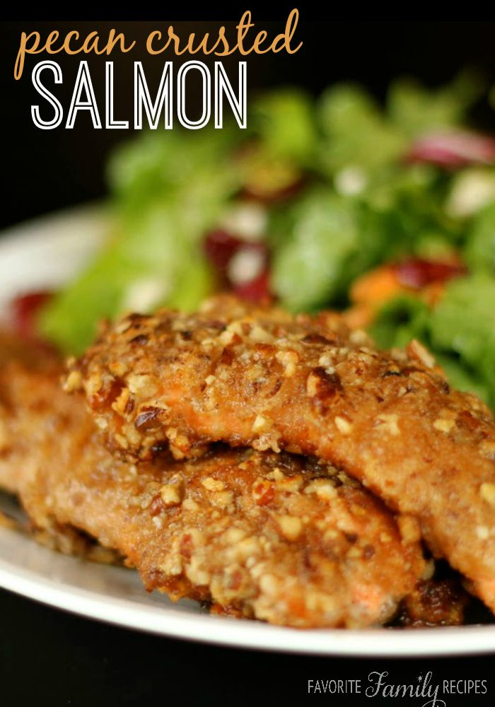 This pecan crusted salmon is one of my favorite ways to cook salmon. It is so good!  Find all our yummy pins at https://www.pinterest.com/favfamilyrecipz/