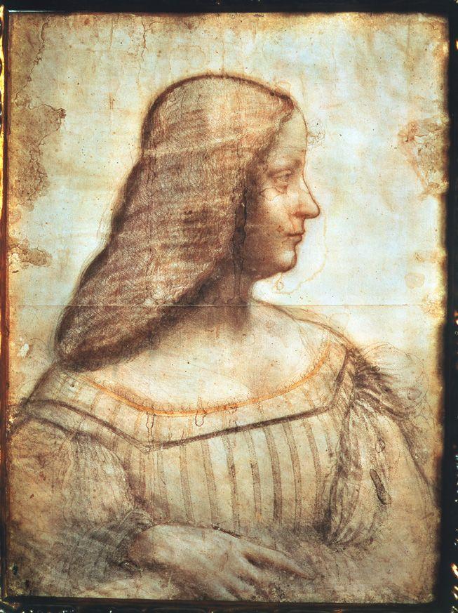 Leonardo da Vinci Portrait of Isabella d'Este, 1519 Red, black, ocher, and white chalk drawing, 46.5 x 61 cm (18 1/2 x 24 in.)