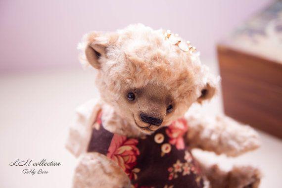 "Teddy Bear style Artist Italian viscose "" Princess Fiona"" 7.8 inch handmade OOAK collectible jointed Teddy Bear toy"