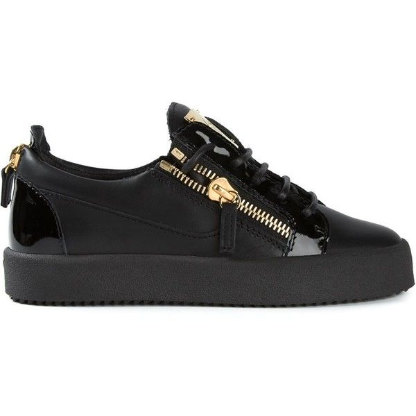 See this and similar Giuseppe Zanotti sneakers - Black calf leather side zip detail sneakers from Giuseppe Zanotti Design featuring a round toe, a lace-up front...