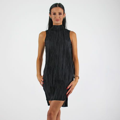 PinkCad Black Pleated Satin High Neck Sleeveless Fitted Dress www.pinkcadillac.co.uk