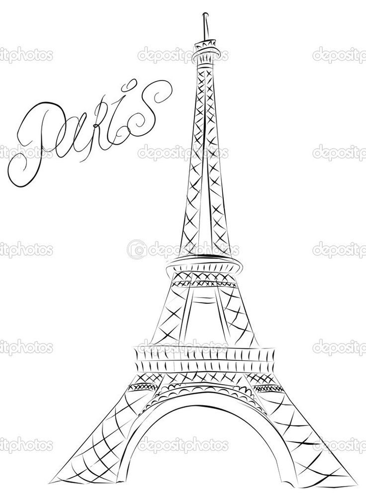 Drawing With No Lines : Eiffel tower sketch paris stock vector