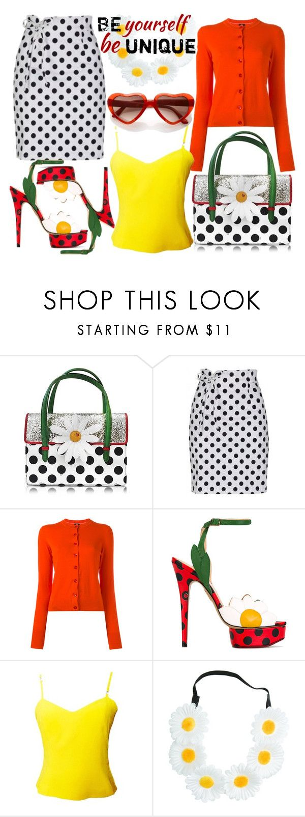 """Be Unique"" by sanya-styleup ❤ liked on Polyvore featuring Charlotte Olympia, PS Paul Smith, Versus, Monsoon, Daisy, polkadot, polkadotskirt, yellowtop and redcardigan"