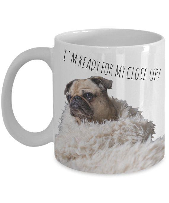 Funny Pug Mugs I'm Ready For My Close Up Pug by AmendableMugs