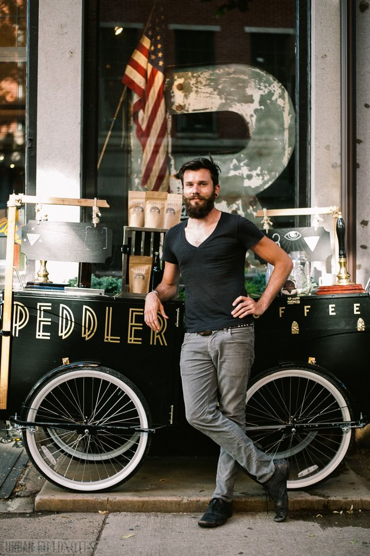 Zack of Peddler Coffee, out front of Art in the Age, 3rd St, Philadelphia Photo by Brent Luvaas (www.urbanfieldnotes.com)