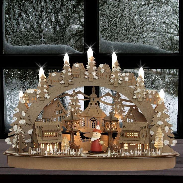 Weihnachtsdorf LED Deko Winterdorf aus Holz beleuchtet Weihnachten Lichterbogen • EUR 27,85 - PicClick DE