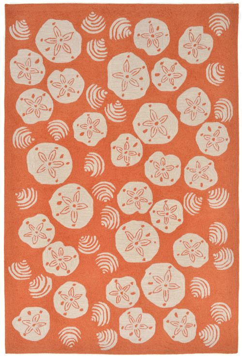 Shell Toss Area Rug   Coral Orange