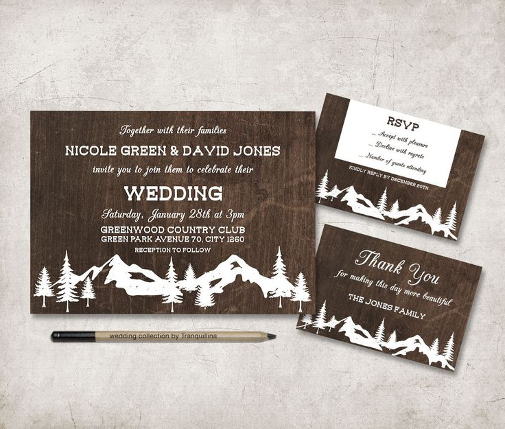 Winter Wedding Invitation Printable, Rustic Wedding invitation, Digital File - Rustic Winter invite, Mountain Wedding Invite - pinned by pin4etsy.com