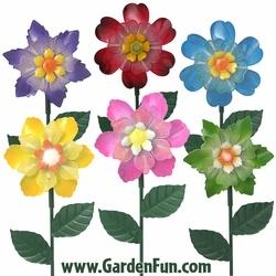 Large Metal Flower Garden Stakes