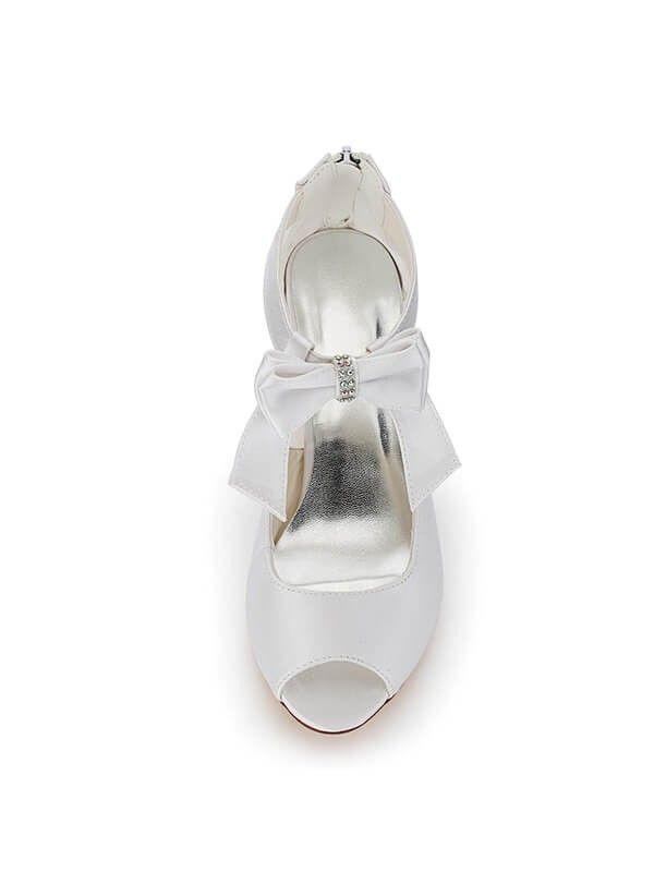 9a66d83a07c Women s Satin PU Peep Toe Spool Heel Wedding Shoes