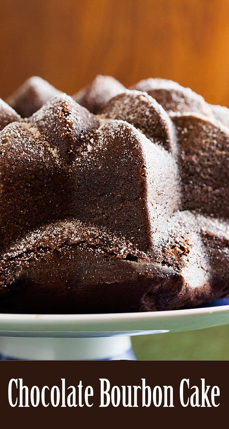 Chocolate Bourbon Cake ~ Delicious chocolate bundt cake infused with bourbon whiskey. Fine crumb, amazingly GOOD! Perfect for #ValentinesDay ~ SimplyRecipes.com