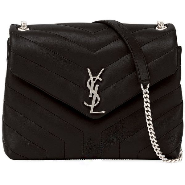 Saint Laurent Loulou Monogram Small Y-Quilted Leather Chain Bag (33,140 MXN) ❤ liked on Polyvore featuring bags, handbags, shoulder bags, black, shoulder handbags, monogrammed handbags, chain strap purse, flap purse and chain handbags