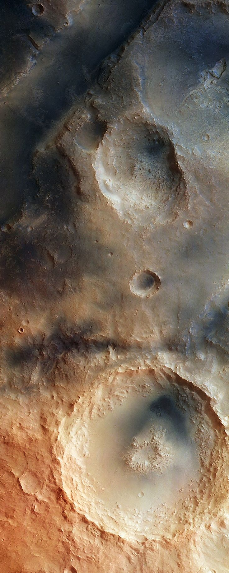 The Syrtis Major Volcanic Province - The Martian Surface Acquired by the High Resolution Stereo Camera on ESA's Mars Express Satellite, this image depicts a detailed region of the Martian Nili Fossae Graben system. This system is an area of great interest to geologists due to the variety of its landscape. The graben system contains numerous troughs, plateaus, impact craters and depressions. Planetary Scientists are actively studying the data collected from ESA's Mars Express