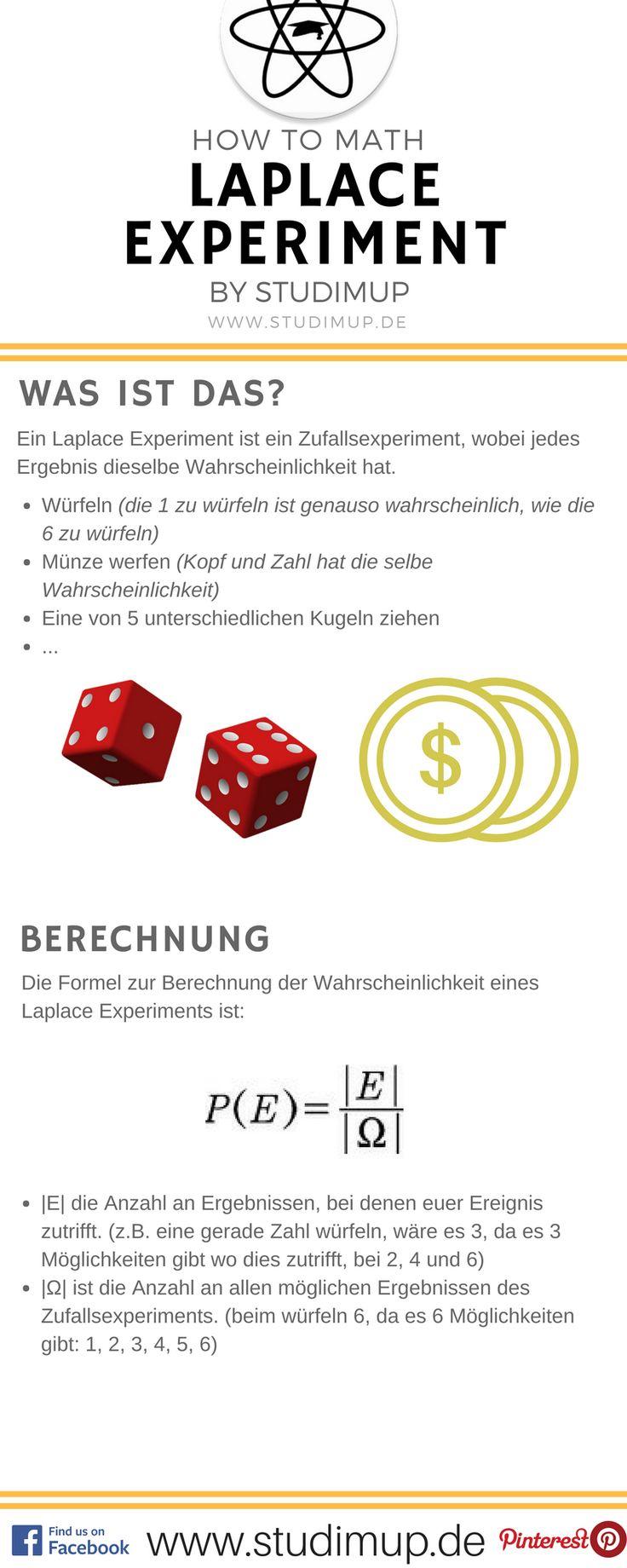 Das Laplace Experiment im Spickzettel erklärt von Studimup. Mathe einfach lernen für die Schule.