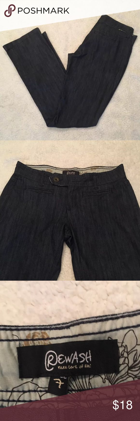 Ladies Rewash Jeans Size 7 This is a preowned pair of straight legged Rewash denim trouser pants size 7. Feel free to message me with any questions. Have a blessed day!  Size: 7 Inseam: 32 inches Rise: 8 inches Waist: 32 inches 70% cotton  29% polyester 1% spandex  ::A12 Rewash Jeans Straight Leg