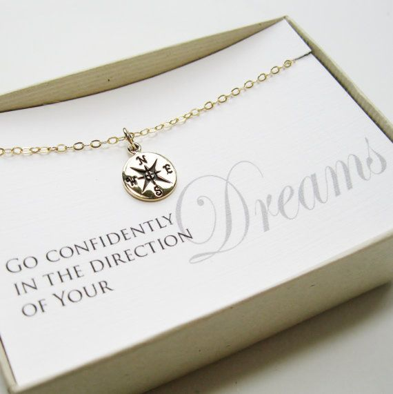 Compass Necklace, 14k gold filled - Graduation Gift, Graduate Gift, Class of 2013, Graduation necklace via Etsy