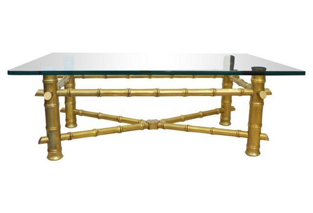 Faux-Bamboo Glass-Top Coffee Table