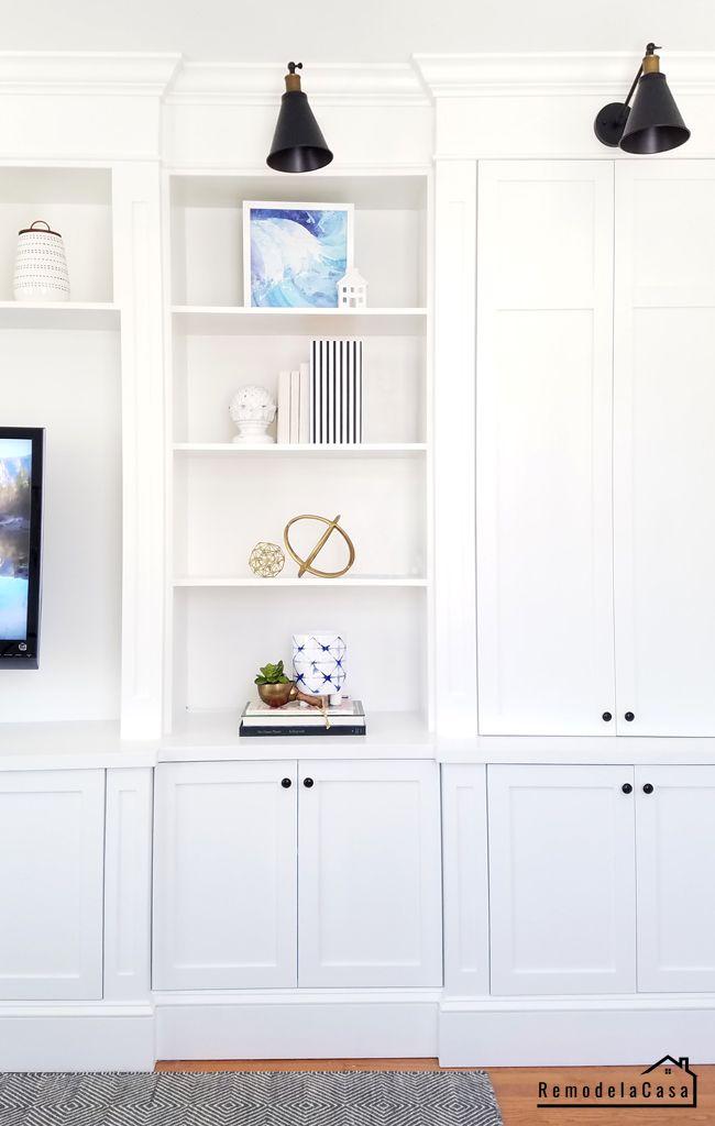 Family Room Built In Fast Cabinet Doors Cabinet Door Makeover Diy Living Room Decor Living Room Built Ins Living room cabinet with doors