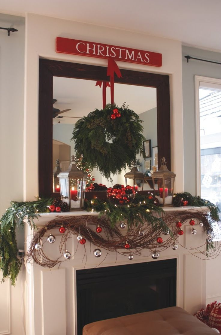 mantle: Mirror, Living Rooms, Mantels Ideas, Holidays Decor, Christmas Decor, Fireplace, Christmas Mantles, Wreaths, Christmas Mantels