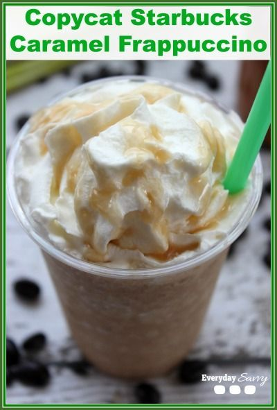 Copycat Starbucks Caramel Frappuccino Recipe that you can make at home! Perfect for summer afternoons.