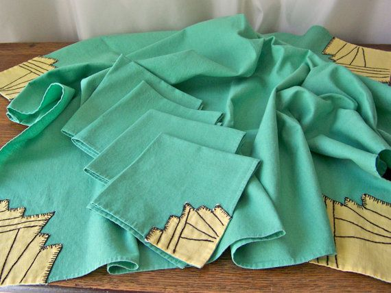 Vintage Mint Green Tablecloth Napkins Hand Stitched Spring