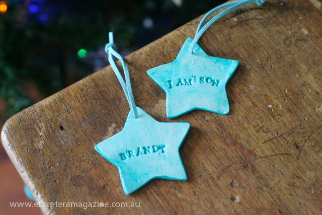 Paper clay gift tags tutorial on the Etzcetera blog.