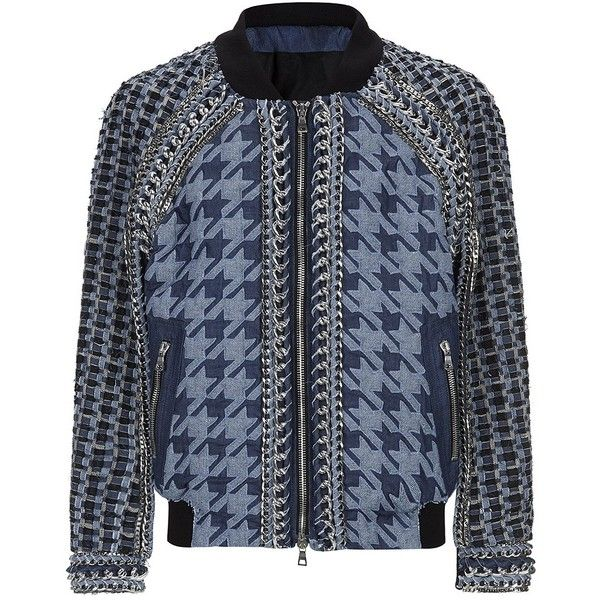 Balmain Embellished Denim Bomber Jacket (£11,100) ❤ liked on Polyvore featuring men's fashion, men's clothing, men's outerwear and men's jackets