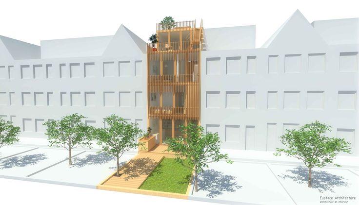 Duurzame particuliere zelfbouw meer generatie gezinswoning (gevelbeeld tuinzijde) - Stek | Eustace Architectuur