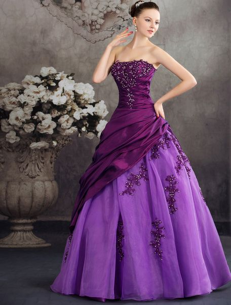 Ball Gown Quinceanera Dresses Strapless Organza Beading Applique Taffeta Pleated Floor Length Party Dress