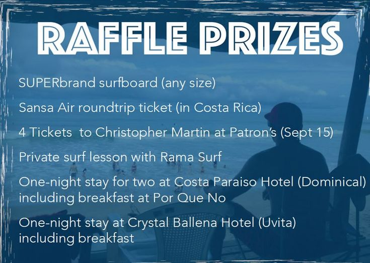 Aug 29th 2015 Raffle for lifeguards - Tickets now on sale (¢1,000) at Cafe Mono Congo for raffle draw on Aug 29th. Check out the sweet prizes!   1. SUPERbrand surfboard your choice of size   2. One round trip ticket anywhere in CR with Sansa Air    3. Four concert tickets to see Christopher Martin    4. One surfing lesson with Rama Surf   5. One-night stay at Costa Paraiso including breakfast at Por Que No.   #costarica #crsurf #dominical
