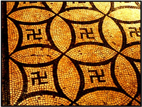 Geometric mosaic depicting ancient Roman Swastika. Swastika origins go way back in ancient times and found in many ancient cultures, which argues a common origin