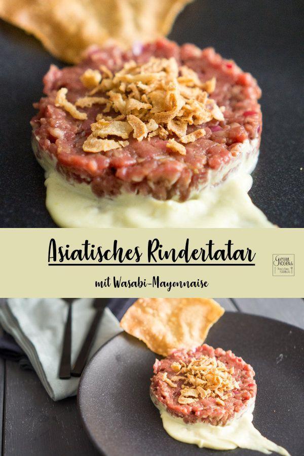Unser handgeschnittenes asiatisches Rindertatar ist ein echter Leckerbissen. Dazu die cremige Wasabi-Mayo und etwas Röstzwiebeln - perfekt. Angemacht ist das Rindertatar mit Ingwer, Sojasauce und noch vielem mehr.