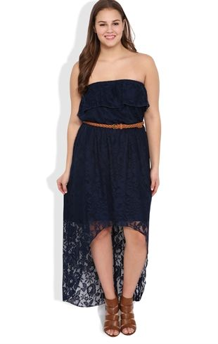 plus size crochet lace high low dress with belted waist