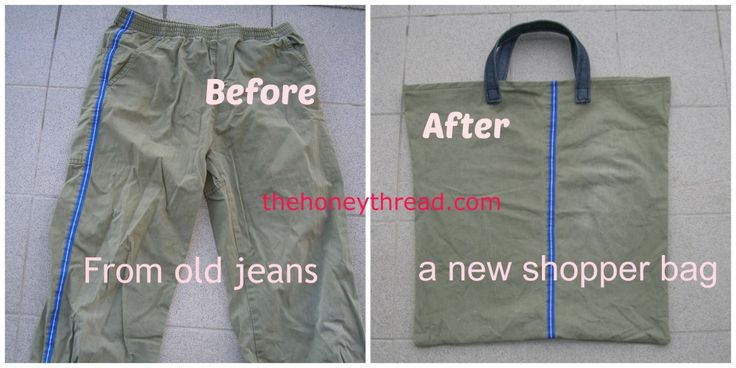 recycle old jeans into shopper bags