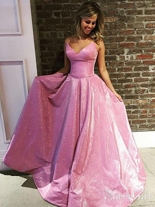 e3ac0ace319 Simple and elegant gorgeous pink shiny prom dress with pocket. It can be  made in other colors