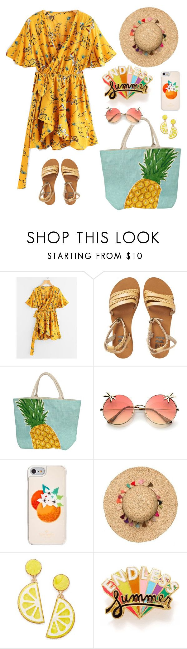 """""""summer days driving away, but oh the summer nights"""" by mxgvi on Polyvore featuring Billabong, Kate Spade, Celebrate Shop and ban.do"""