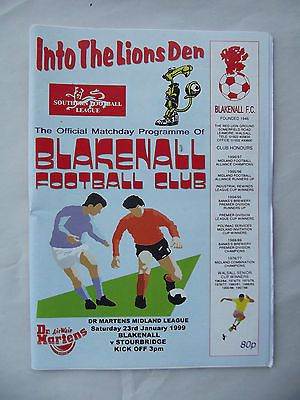 Football programme Blakenhall FC v Stourbridge Dr Martens Midland League 23 1
