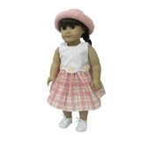 "Pink Plaid Dress with Pink Straw Hat. Fits 18"" Dolls like American Girl® (Toy)By Small Small World"