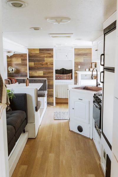 This is the Winnhaven, a renovated 30 ft. travel trailer by Wander in the West, a company that's using the trailer to tour the American West and promote American-made products. What's r…