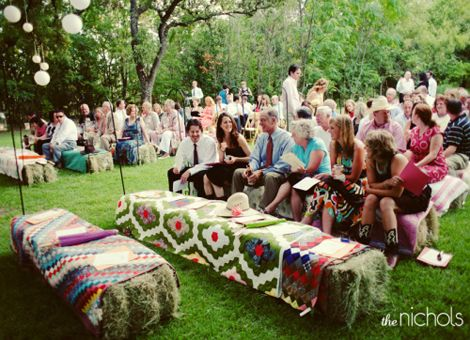 Still not sure if I'd want to do the hay bales for the ceremony seating.... it would be better than renting those typical plastic chairs though! ... I dunno... I supposed I've still got some {a whole freakin' lot of} time to think about that. d;