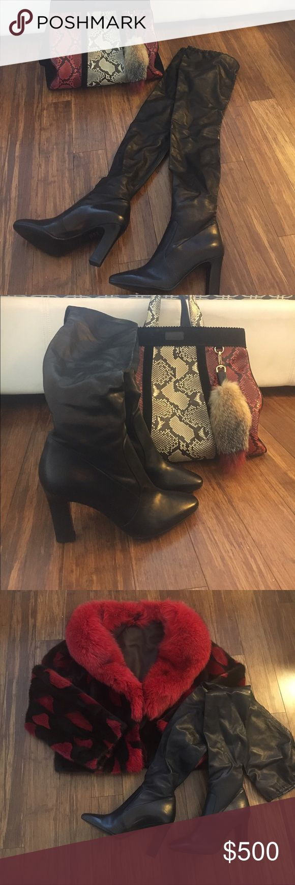 Stretch  thigh high Boots 100% Leather Over the knee boots/thigh high made from a stretch leather, heel height is 90mm. Italian made never worn Tamara Mellon Shoes Over the Knee Boots