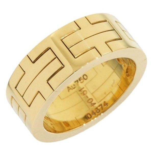 Pre-owned Hermes Kilim 18k Yellow Gold Band Ring Size 6 ($999) ❤ liked on Polyvore featuring jewelry, rings, 18 karat gold ring, cocktail rings, gold cocktail rings, wedding band rings and pre owned wedding rings