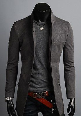KOREAN Mens Slim Fit Premium Button Jacket China Collar Long Blazer HD6-XS/S/M/L